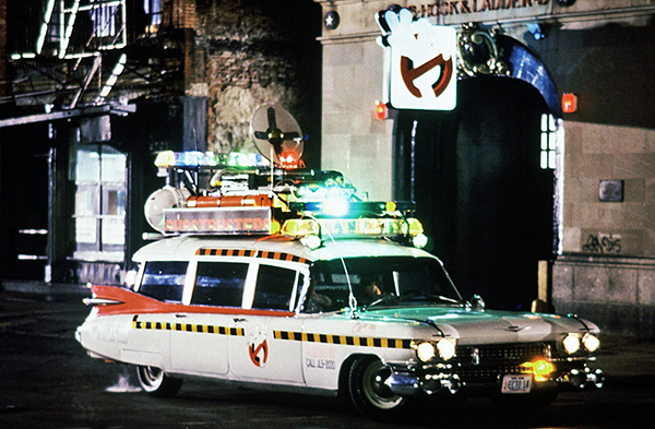 Ecto-1A in 1989 during the production of Ghostbusters II.